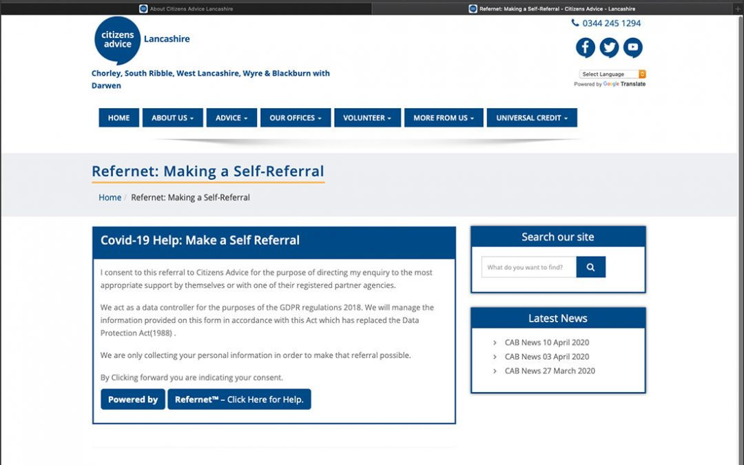 Self referral to help reduce the pressure on Advice services.
